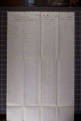 C.P.R.R. pay roll no. 103 for the month of February 1866, Camp No.9
