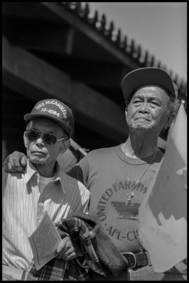 Fred Abad and Pete Velasco, Filipino veterans of the United Farm Workers, and the Agricultural Workers Organizing Committee of the years before the UFW