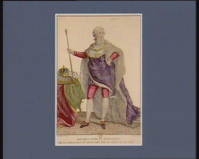Monarque juste et bienfaisant vêtu d'un manteau royal de velours violet semé de fleurs de lys d'or : [estampe]