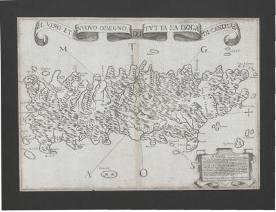 El uero et nuouo disegno, di tutta la isola di Candia : ad cosmographiae studiosos N. St