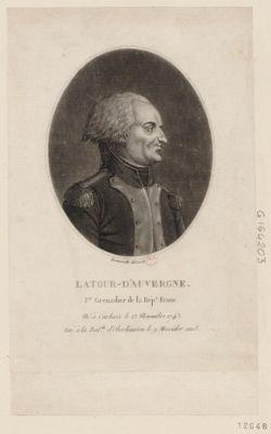 Latour-d'Auvergne 1.er grenadier de la Rép.e franc. né à Carhaix le 23 novembre 1743 tué à la bat.lle d'Oberhausen le 9 messidor an 8 : [estampe]