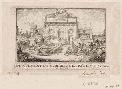 Devouement de M. Desiles a la porte Stainville de Nancy [estampe]