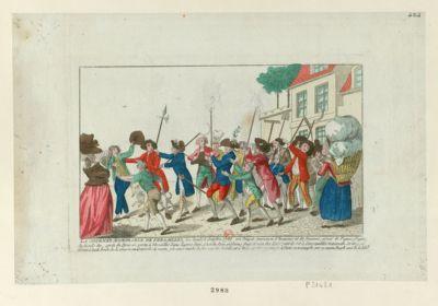 La  Journée memorable de Versailles le lundi 5 octobre <em>1789</em>, un peuple immense d'hommes et de femmes, armé de piques, d'epées de fusils & c sorti de <em>Paris</em> se porta à Versailles dans l'apres diné, c'est du pain qu'il nous faut et non des loix... : [estampe]