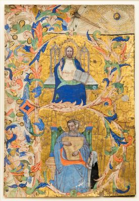 Christ Enthroned with David Playing a Psaltery