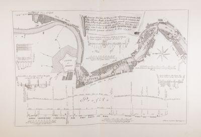 Tevere, pianta, profilo e sezioni del corso del fiume a Roma