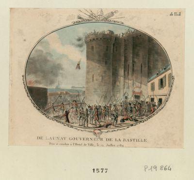 De Launay gouverneur de la Bastille pris et conduit <em>à</em> l'Hotel de Ville, le 14 juillet 1789 <em>a</em> 4 heures et demie, l'officier suisse écrit la capitulation, qu'il fit passer sur une planche... : [estampe]