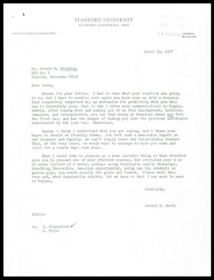 Letters between Donald Knuth and Gerry Weinberg Regarding Continued Visits to Stanford
