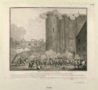 Prise de la Bastille, par les Gardes françoises et les bourgeois de Paris, le mardi 14 juillet 1789 M. Delaunay qui en étoit gouverneur fut pris et trainé <em>à</em> la place de Grève, ou en arrivant il eut la tête tranchée, étant convaincu de trahison... : [estampe]