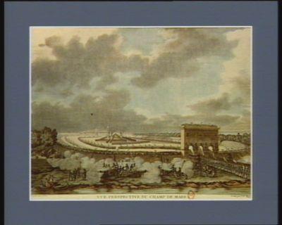 Vue perspective du <em>Champs</em> <em>de</em> <em>Mars</em> au jour <em>de</em> la céremonie du serment civique prèté par la nation française assemblée le 14 juillet 1790 [estampe]