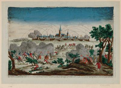 Vue de la ville de Thionville siège de la ville de Thionville par des Autrichiens, l'an 1.er de la Rep. franc. dans la nuit du 5 au 6 septembre ils avancerent avec une artillerie roulante, mais nos canonniers avec 56 pièces firent un feu si terrible. .. : [estampe]
