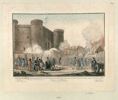 Prise de la Bastille par les bourgeois et les braves Gardes françaises de la bonne ville de Paris, le 14 juillet 1789 dédiée à la <em>nation</em>... : [estampe]