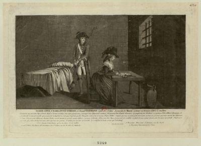 Marie Anne Charlotte Corday ci-devant Darmans, âgée de 25 ans, assassin de Marat, écrivant sa dernière lettre à son père pardonnez-moi, mon cher papa... : [estampe]