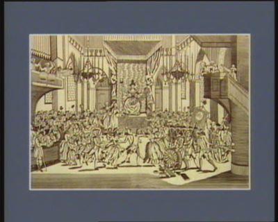 Fête idolâtre célébré dans la cathedrale Notre Dame à Paris, où les jacobins firent asseoir une actrice sur l'autel [estampe]