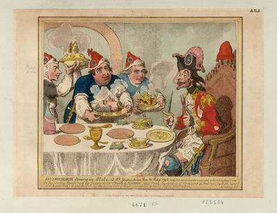 Dumourier, dining in State at S.t James on the 15 May 1793 vide His own déclaration as printed by the Anti-levelling Societies... : [estampe]