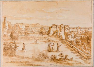 Palatino, veduta generale sul Palatino con sfondo dei Monti Albani