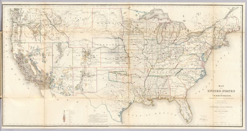 Map of the United States and Territories. Shewing the extent of the Public Surveys    and other details Constructed From the Plats and official sources of the General Land Office    Under the direction of the Hon. Jos. S. Wilson, Commissioner, by Theodore Franks, Draughtsman    1866. Department of the Interior, General Land Office, October 2nd 1866. Jo. S. Wilson    Commissioner. Engraved by D. McClelland, Washn. D.C.