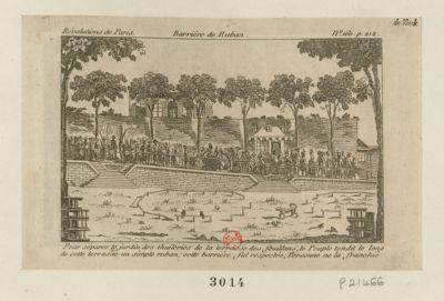 Barrière de ruban pour séparer le jardin des Tuileries de la terrasse des Feuillans, le peuple tendit le long de cette terrasse un simple ruban ; cette barrière fut respectée, personne ne la franchie : [estampe]