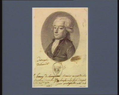 L. henry de Longuêve Premier avocat du Roi [député du] Baillage d'Orléans [né] le 23 nov.bre 1752 : De Sinople à La face d'argent, Deux quintefeuille aussi de Si[nople] : [dessin]