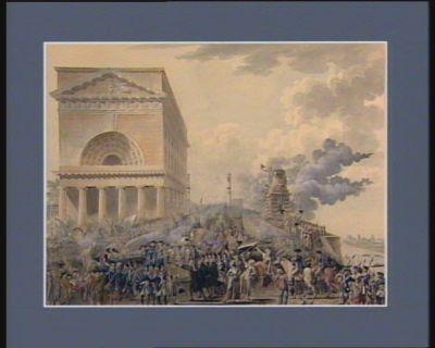 Arrivée du Roi à Paris accompagné de la Reine et de la famille royale le 7 octobre 1789 à 6 heures du soir ; les clefs de la ville lui sont présentées par le maire et officiers municipaux à la barrière de la Conférence [dessin]