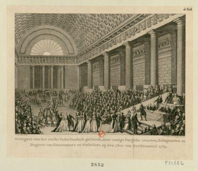 Overgave van het eerste vaderlandsch geschenk, door eenige Parijsche vrouwen, echtgenoten en dogters van konstenaars en winkeliers [estampe]