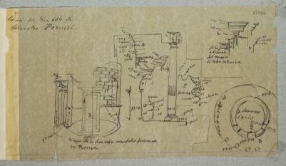 Tempio di Vesta, schizzo misurato della pianta