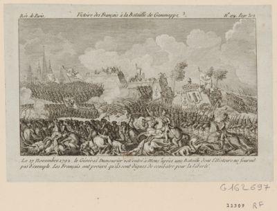 Victoire des Français à la bataille de Gemmappe le 17 novembre <em>1792</em> le général Dumourier est entré à Mons après une bataille dont l'histoire ne fournit pas d'exemple. Les Français ont prouvé qu'ils sont dignes de combattre pour la liberté : [estampe]