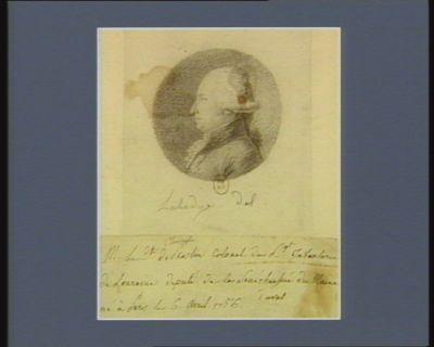 M. le C.te de Choiseul Praslin colonel du r.gt infanterie de Lorraine député de la sénéchaussée du Maine né à Paris le 6 avril 1756 : [dessin]