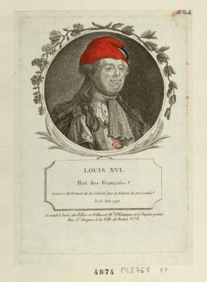 Louis XVI Roi des français couvert du bonnet de la liberté que la <em>nation</em> lui a présenté le 20 juin 1792 : [estampe]