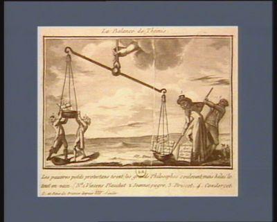 La  Balance de Thémis les pauvres petits protestans tirent ; les grands philosophes soulevent, mais hélas ! le tout en vain... : [estampe]