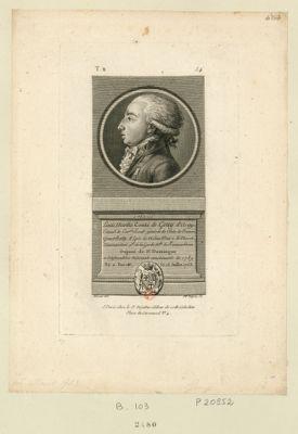 Louis Marthe comte de Gouy d'Arsy : colonel de cav.rie lieut.t général de l'Isle de France, grand bailly d'epée de Melun, maire de Moret, commandant g.al de la Garde n. ale de Fontainebleau, député de St Domingue a l'Assemblée nationale constituante de 1789 né a Paris, le 15 juillet 1753 : [estampe]