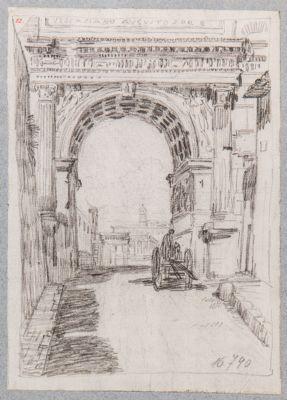 Arco di Tito, particolare del fornice visto dalla via Sacra