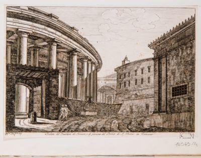 Veduta del Quartiere dé Svizzeri e di porzione di Portico di S. Pietro in Vaticano