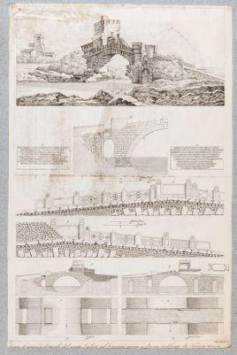 Ponte Salario, veduta generale con particolari architettonici (piante, alzato e dettagli)