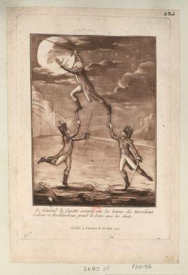 Le  Général la Fayette soutenu sur les batons des marechaux Lukner et Rochambeau, prend la lune avec les dents [estampe]