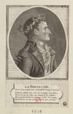 La  Breteche blessé de 42 coups de sabre a la bataille de Jemmapes le 6 9.bre <em>1792</em>... : [estampe]