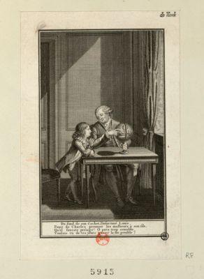 Du fond de son cachot l'infortuné Louis, peint de Charles premier les malheurs a son fils qu'el funeste présage ! O pere trop sensible, voulois tu de tes jours tracer la fin pénible : [estampe]