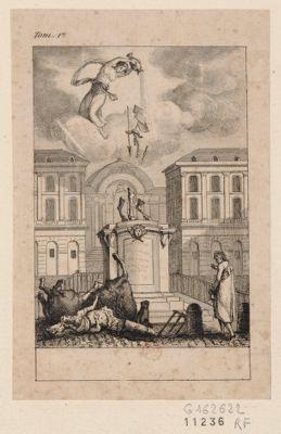 [La  Statue de Louis quatorze sur la place des Victoires renversée et brisée] [estampe]