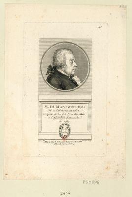 M. Dumas-Gontier né à Libourne en 1737 deputé de la dite senéchaussée à l'Assemblée nationale de 1789 : [estampe]