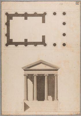 Tempio cosidetto di Fortuna Virile, pianta e alzata