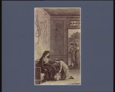 [Jeune homme en pleurs agenouillé devant une femme en deuil. Dans le fond une porte par laquelle on voit un couple se promenant] [estampe]