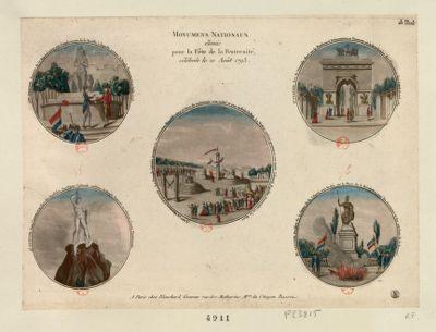 Monumens nationaux élevés pour la fête de la fraternité célébrée le 10 août 1793 [estampe]
