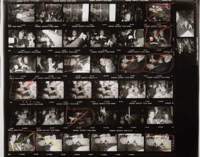 [Partygoers at Regine's, with Regine, Andy Warhol, Cornelia Guest, Mariel Hemingway, Tama Janowitz, and an elephant; Bernard Zette on a swing]