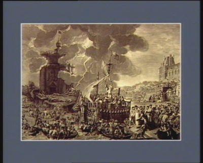 La  Liberté triomphante fesant amarrer le vaisseau de l'etat au port de la Constitution [estampe]