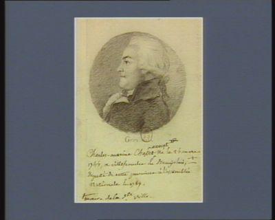Charles Antoine Chasset avocat né le 24 mars 1744 <em>à</em> Villefranche en Beaujolais, maire de la d.te ville, député de cette province <em>à</em> l'Assemblée nationale en 1789 : [dessin]