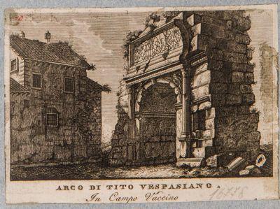 Arco di Tito visto di scorcio dalla via Sacra prima del restauro