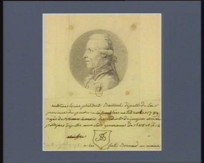Antoine Louis Philbert Bailleul député de la province du Perche à l'Assemblée nationale de 1789, né le 7 octobre 1751 à la Ferté Bernard au Maine, descendant de Jacques et Isaïe Pétigars, députés aux Etats généraux de 1588 et 1614 : [dessin]