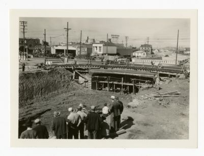 The underpass at 38th & San Pablo about middle of June 1936 showing the shewfly track on San Pablo Ave. looking West from a large pile of dirt from excavation