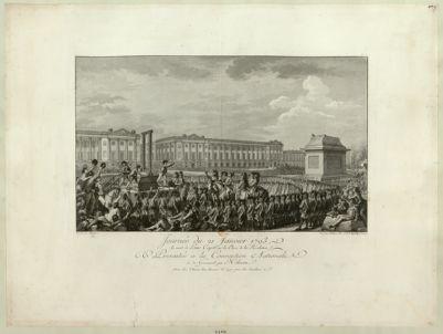 Journée du 21 janvier 1793 la mort de Louis Capet sur la place de la Révolution présentée à la Convention nationale le 30 germinal par Helman : [estampe]