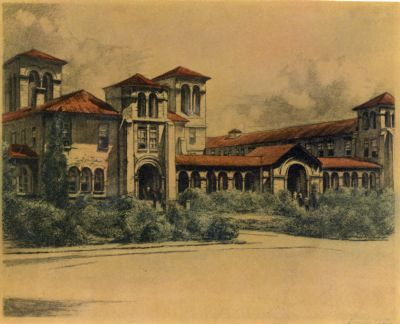 Toyon Hall, exterior. Color print of a sketch mounted on board