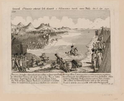 General Dümurier reterirt sich ohnweit 1. Valencienes durch einen Fluss den 6. Apr. 1793 Dümurier, der topfre. 2 General, wird nun vervolgt von seinen eignen Leuten... : [estampe]